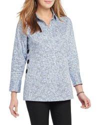 NIC+ZOE Naples Tunic Shirt - Blue