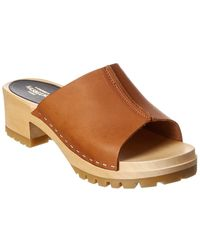 Swedish Hasbeens Ann Low Leather Sandal - Brown