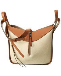 Loewe Hammock Small Canvas & Leather Shoulder Bag - Natural