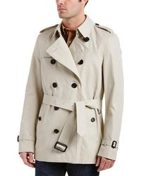 Burberry Kensington Short Trench Coat - Natural