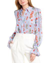 Carolina Herrera Puff Sleeve Button-down Silk Shirt - Blue