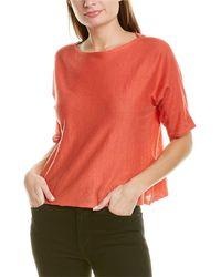 Eileen Fisher Bateau Neck Linen-blend Top - Multicolor