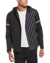 Thom Browne Striped Armband Wool-blend Jacket - Blue