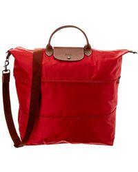 Longchamp Le Pliage Nylon & Leather Travel Bag - Red