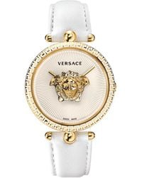 Versace Palazzo Empire White And Pvd Plated Gold Unisex Watch W/3d Medusa - Metallic
