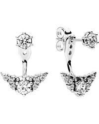 PANDORA Silver Fairytale Tiara Stud Earrings - Metallic