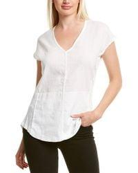 XCVI Wearables Kirsten Linen Front Top - White