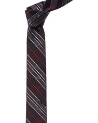Valentino Burgundy Stripe Silk Tie - Red