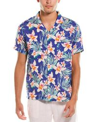 Onia Vacation Linen Camp Shirt - Blue