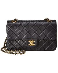 Chanel Navy Quilted Lambskin Leather Small Double Flap Bag - Black