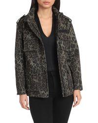 Avec Les Filles Leopard Cotton Cargo Rain Jacket - Multicolour