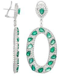 Diana M. Jewels . Fine Jewellery 18k 19.00 Ct. Tw. Diamond & Green Emerald Drop Earrings