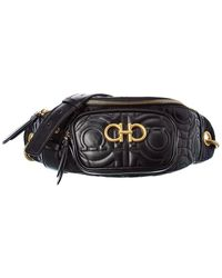 Ferragamo Gancini Leather Belt Bag - Black
