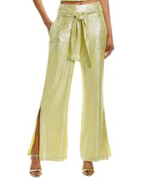 ML Monique Lhuillier Silk-blend Sash Pant - Yellow