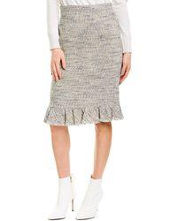 Rebecca Taylor Tweed Ruffle Skirt - White