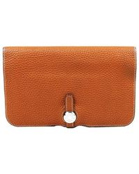 Hermès Brown Clemence Leather Dogon Duo Combined Wallet