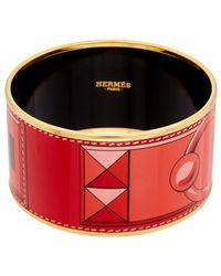 Hermès Red Collier De Chien Enamel Extra Wide Bangle
