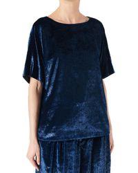 Tibi Velvet Lurex Top - Blue