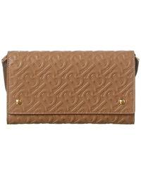 Burberry Monogram Leather Wallet With Detachable Strap - Multicolour