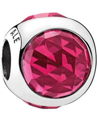 PANDORA - Silver & Pink Cerise Crystal Radiant Droplet Charm - Lyst