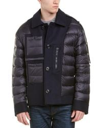 Moncler Quilted Wool-blend Down Jacket - Blue