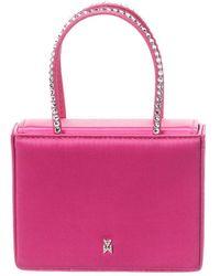 AMINA MUADDI Amini Gilda Crystal Embellished Satin Handbag - Pink