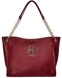09c827bf6ea Lyst - Tory Burch Marion Quilted Patent Slouchy Tote in Black