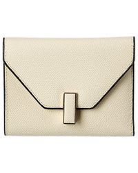 Valextra Fold-over Leather Card Case - White