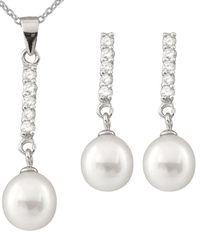 Splendid - Silver 7.5-8mm Freshwater Pearl & Cz Earrings & Necklace Set - Lyst