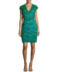 Reem Acra - Embroidered Cocktail Dress - Lyst
