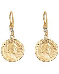Ariana Rabbani - 14k Diamond Roman Coin Earrings - Lyst