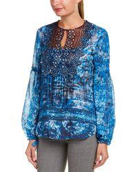 Elie Tahari Printed Long-sleeve Top - Blue