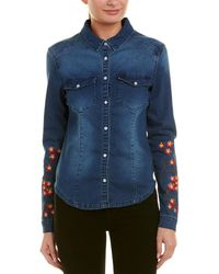 Etienne Marcel Long-sleeve Snap-front Stretch-denim Shirt W/ Floral-embroidery - Blue