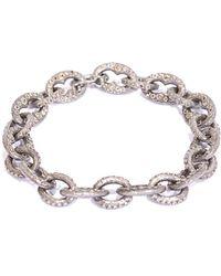 Armenta New World Silver 2.24 Ct. Tw. Diamond Oval Link Bracelet - Metallic