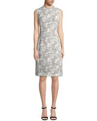 Oscar de la Renta - Rose Print Sheath Dress - Lyst