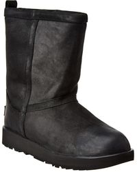 UGG Classic Short Waterproof Leather Boot - Black