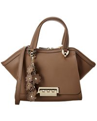 Zac Posen Eartha Iconic Small Double Handle Leather Satchel - Brown