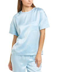 Badgley Mischka Pocket Silk Top - Blue