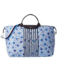 Longchamp Le Pliage Fleuri Large Nylon Travel Bag - Blue