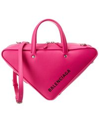Balenciaga Triangle Duffle Small Leather Crossbody - Pink