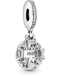 PANDORA Jewellery You Melt My Heart Silver Cz Dangle Charm - Metallic