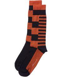 Peter Millar Colorblocked Stripe Socks - Orange