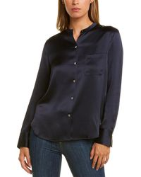 Vince Slim Fitted Band Collar Silk Blouse - Black