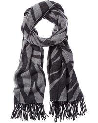 Rag & Bone Fringed Zebra-print Wool-blend Scarf - Black