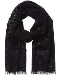 Badgley Mischka Metallic Herringbone Wool-blend Scarf - Black