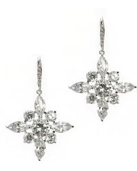 CZ by Kenneth Jay Lane - Rhodium Plated Drop Earrings - Lyst