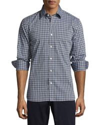 Jack Spade Grant End On End Unbalanced Check Point Sportshirt - Blue