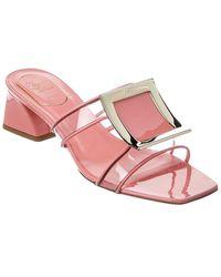 Roger Vivier Rikivi' Metal Buckle Patent & Pvc Sandal - Pink