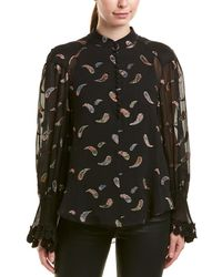 Chloé Embroidered Silk-blend Blouse - Black