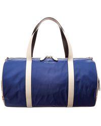 Burberry Medium Colorblocked Vintage Check Canvas & Leather Duffel Bag - Blue